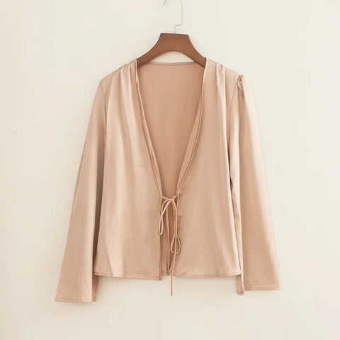 Satin Tie Front Long Sleeves Loose Cape Shirt gallery 5