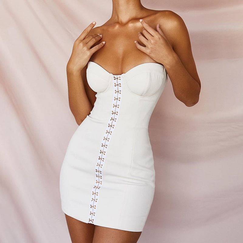 White Bandeau Hook and Eye Front Cup Detail Bandage Dress