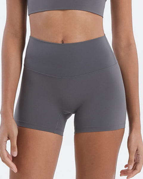 Solid High Waist Sports Shorts gallery 1