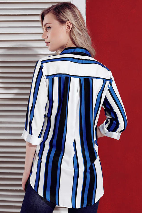 Blue White Striped Long Sleeve Button Down Shirt gallery 4