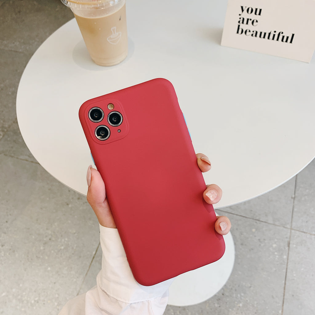 Red Contrast Button Detail Liquid Silicone iPhone Case
