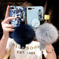 Retro Flower Printing iPhone Case With Phone Holder Fur Ball And String