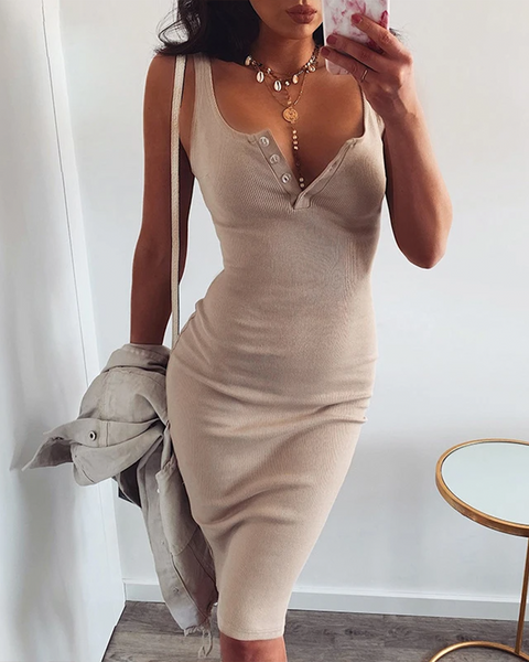 Scoop Neck Button Detail Ribbed Sleeveless Midi Dress