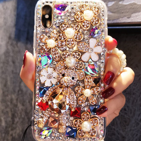 Luxury Floral Full Rhinestone Cover Phone Case for Samsung gallery 4