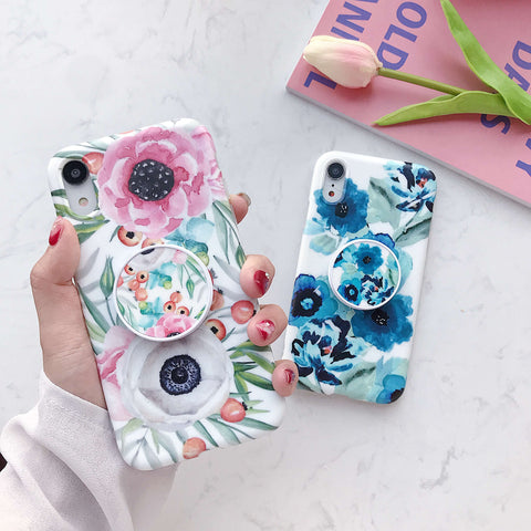 Splendid Floral Pattern iPhone Case with Phone Holder