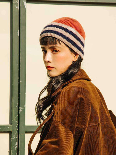 Embroidery Letter Striped Beanie Hat gallery 8