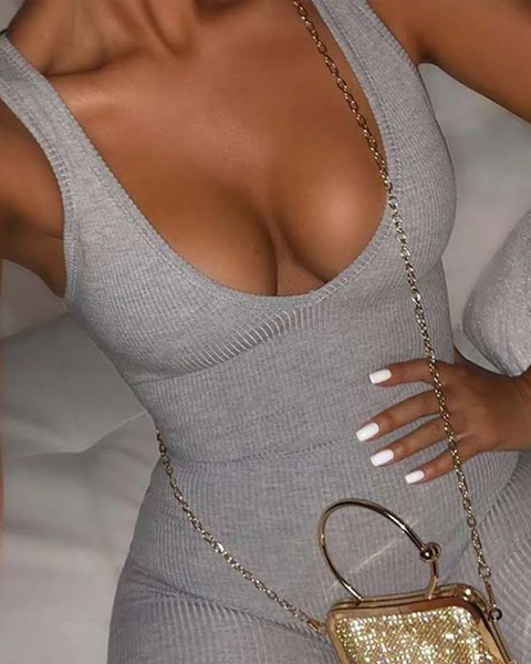 Scoop Neck Ribbed Thick Strap Romper