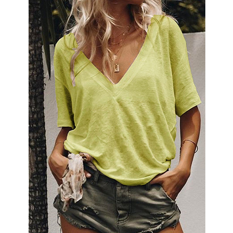 Oversize Deep V-Neck Short Sleeve T-Shirt