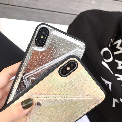 Luxury Reflective Crocodile Skin Pattern iPhone Case with Hand Strap