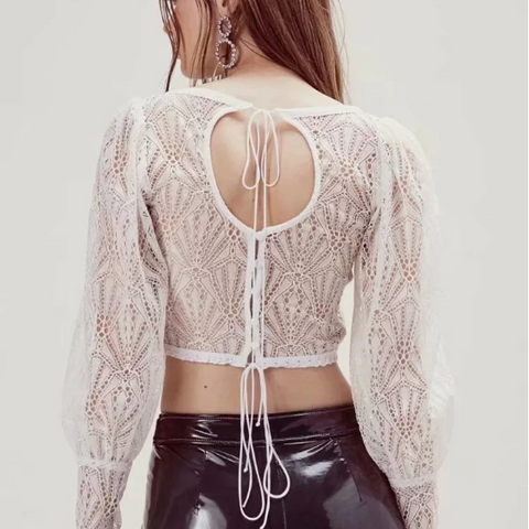 Lace Panel Square Collar Tie Self Cropped Shirt gallery 2