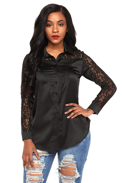 Black Lace Splice Long Sleeve Button Down Shirt gallery 6