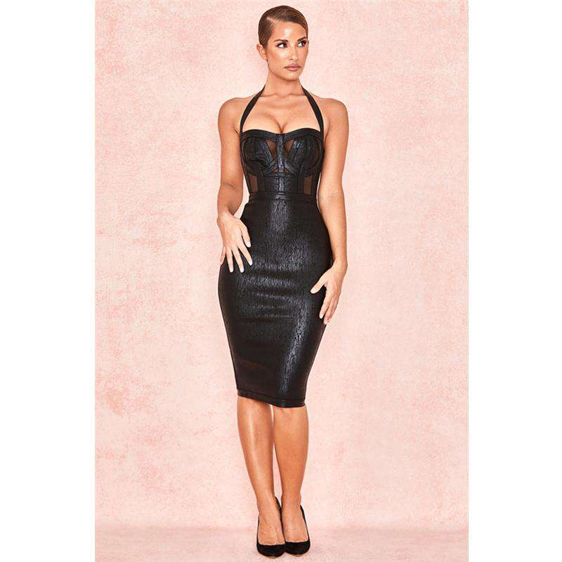 Strappy Detail Lace Insert Bandage Dress