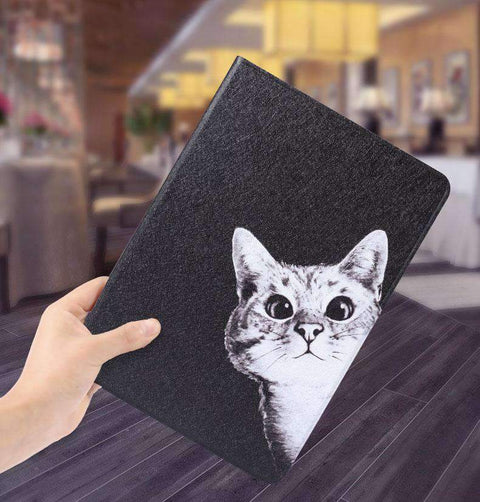 Cute Curious Cat Painted Magnetic Flip Apple iPad Cover Case gallery 5