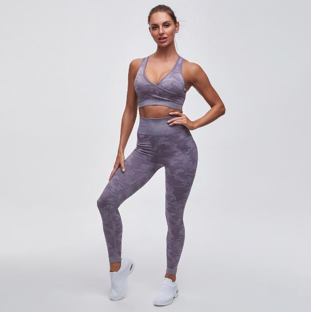Camou Print Sports Bra & High Waist Leggings 2 Pieces Set