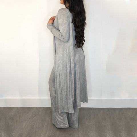 Knit Scoop Neck Ribbed Wide Leg Top & Cardigan & Pants Set gallery 3