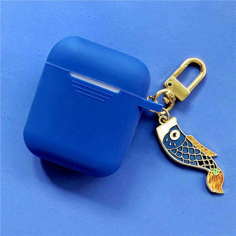 Ultra-thin Silicone Protective Cover Case for Apple AirPods with Lucky Fish Pendant