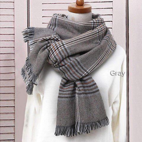 Classic Long Check Scarf With Frayed Edges For Men And Women, Unisex Faux Cashmere Plaid Muffler gallery 7