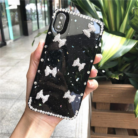 Little Bowknot Rhinestone Clear Transparent Phone Case for Samsung gallery 12