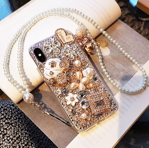 Luxury Bottle & Full Rhinestone Cover Phone Case for Samsung with Hand Strap gallery 5