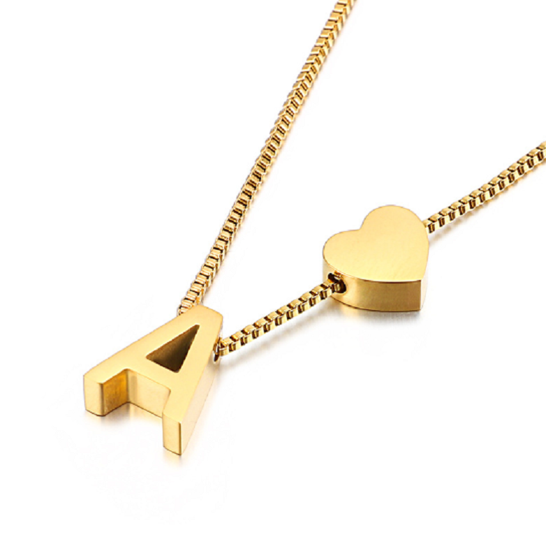 Gold Initial Heart Shape Pendant Necklace