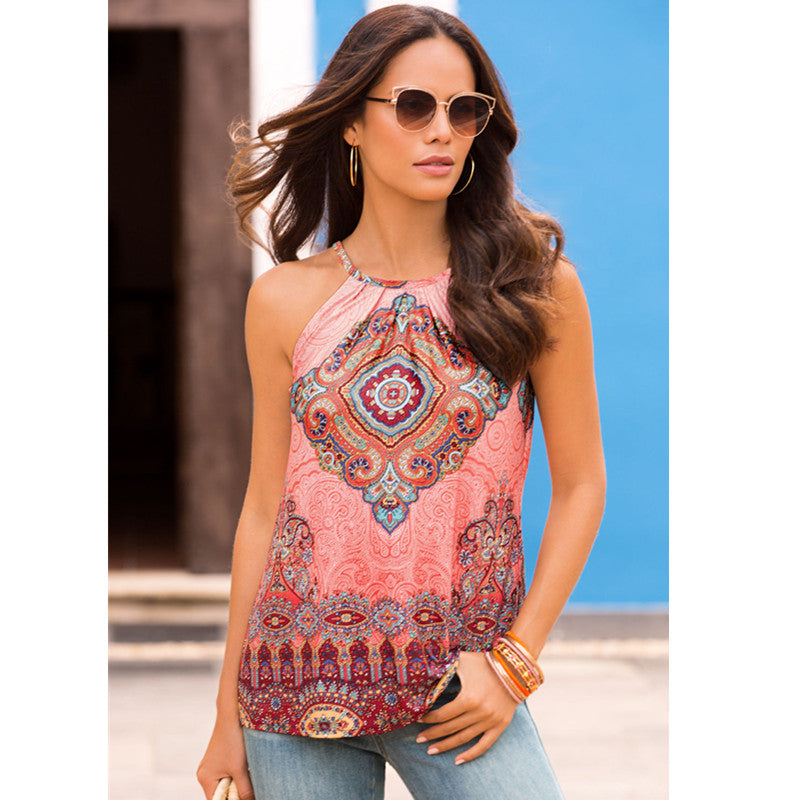 Ethnic Print Spaghetti Strap Button Detail Tank Top