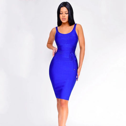 Navy Square Neck Tie Waist Detail Bandage Dress