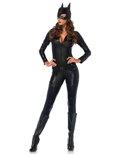 Belted Zip Front Form Fitted Catwoman Costume Jumpsuit