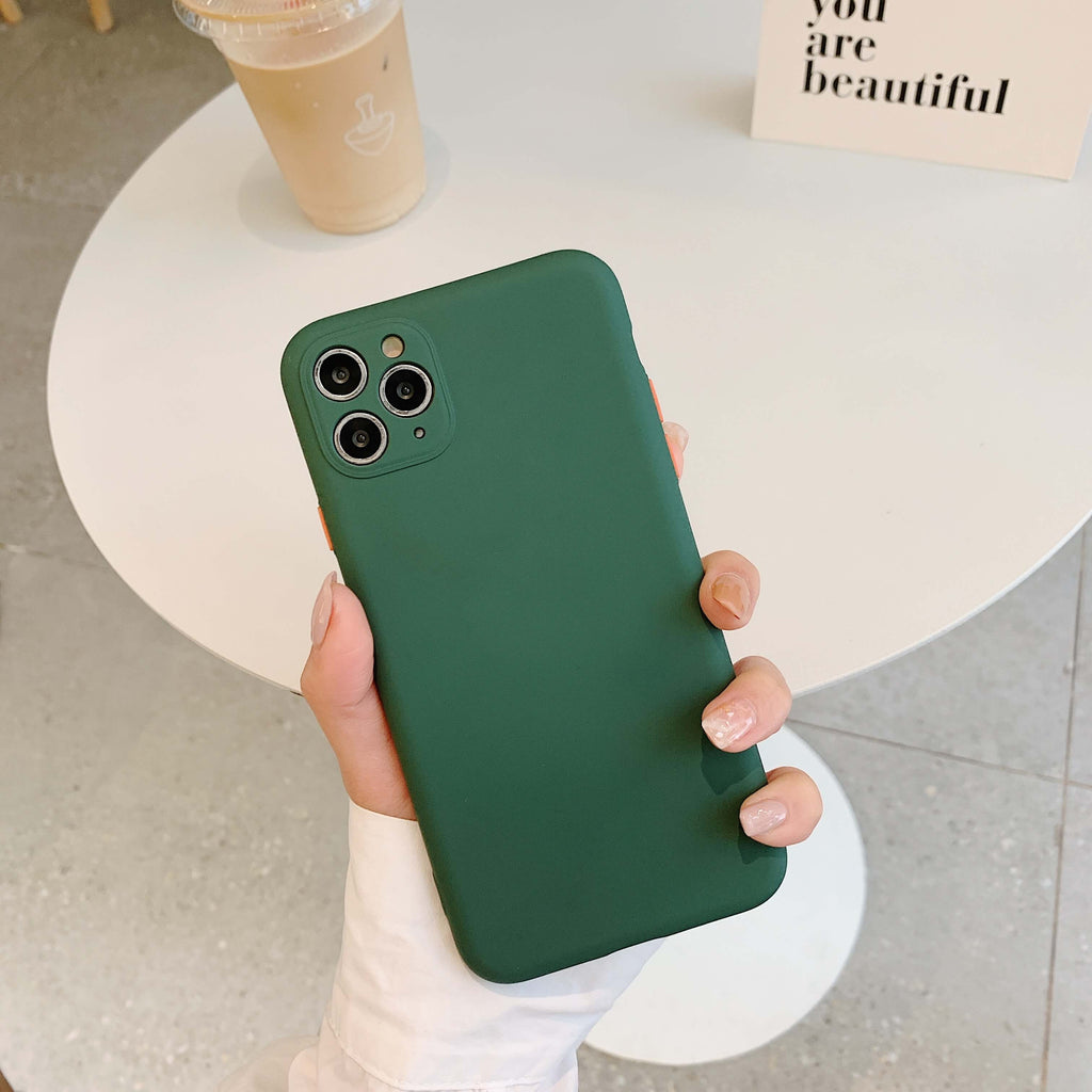 Emerald Contrast Button Detail Liquid Silicone iPhone Case