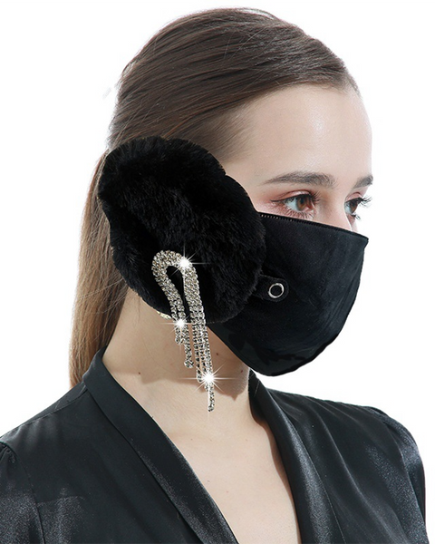 Letter Embroidery Rhinestone Tassels Decor Detachable Earmuff Mask gallery 2