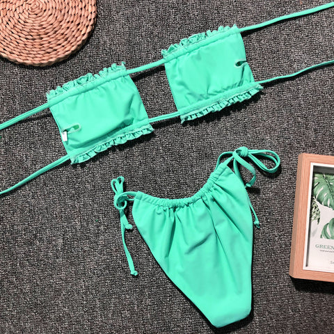 Ruched Bandeau With Tie Side Bikini Set gallery 15