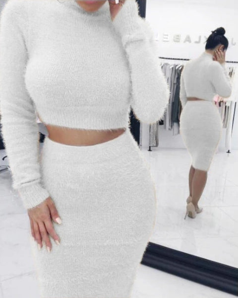 Solid Fluffy Knit Crop Sweater & Skirt Set gallery 5