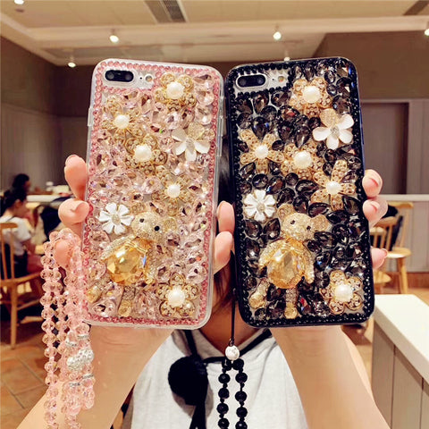 Bear Deco Full Rhinestone Cover Phone Case for Samsung with Hand Strap