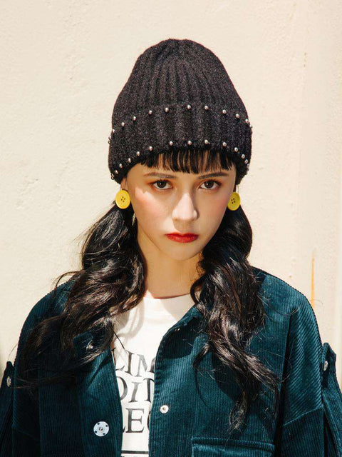 Punk Style Beaded Knit Beanie Hat gallery 9