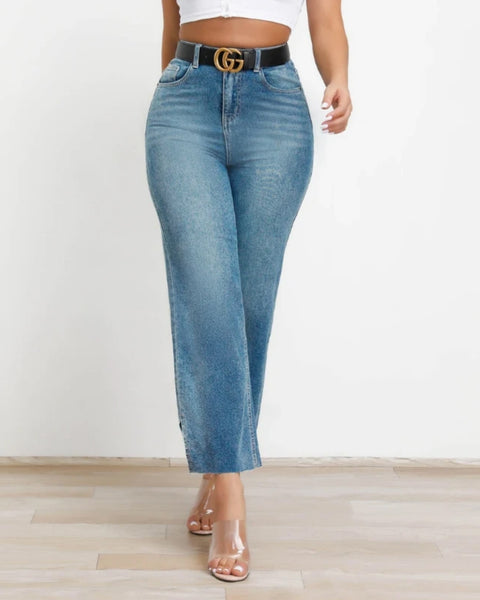 High Waist Split Hem Wide Leg Jeans