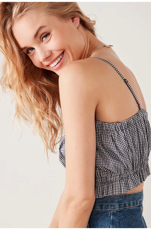 Ruched Frill Fringed Crop Cami Top gallery 5