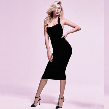 Solid Color Tie Back Neck Backless Bodycon Midi Dress