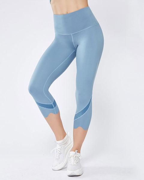 Hollow Out Scallop Detail Capris Sports Leggings gallery 8