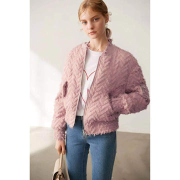 Fashion Pink Ribbed Cuffs Round Neck Frayed Edges Short Puffer Jacket