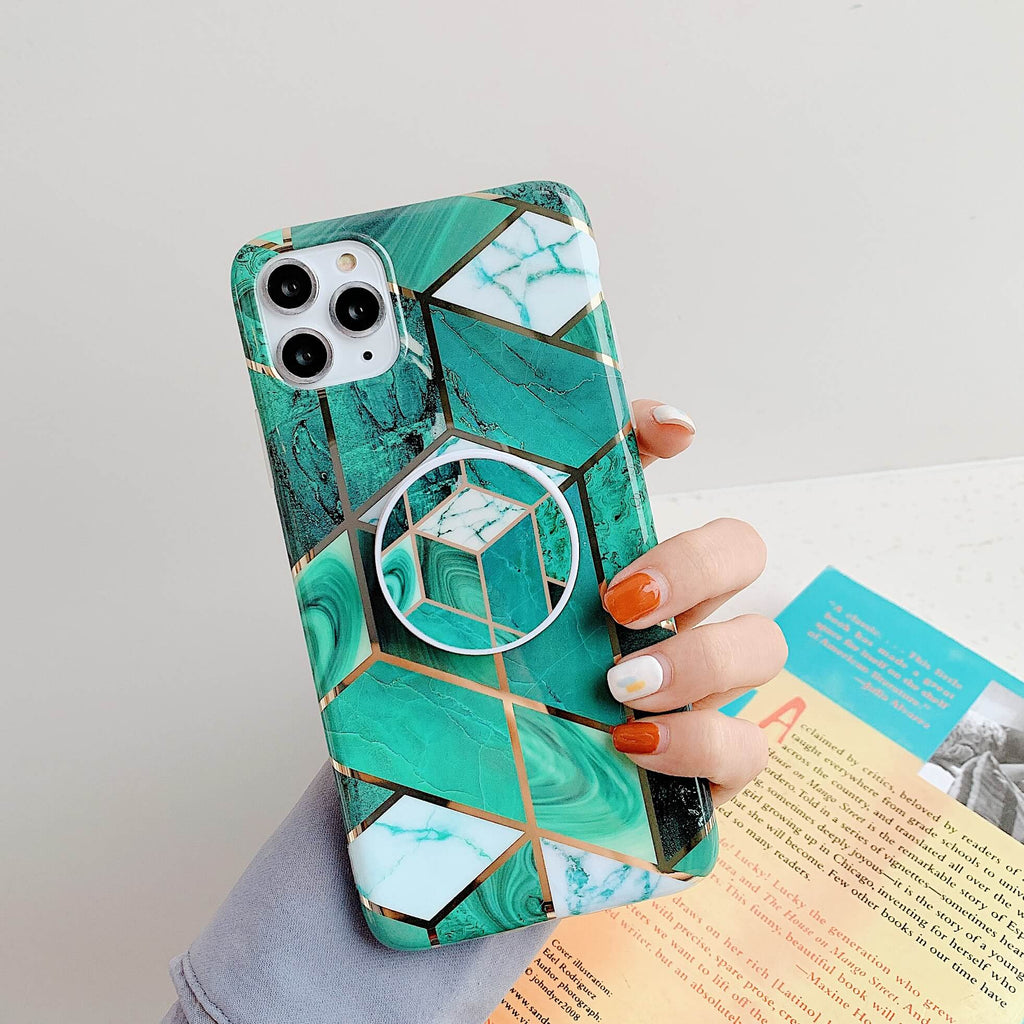 Electroplate Rhombus Marble iPhone Case with Phone Holder