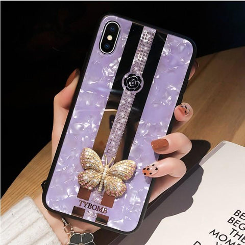 Butterfly Rhinestone Mirror Phone Case for Samsung with Hand Strap gallery 4