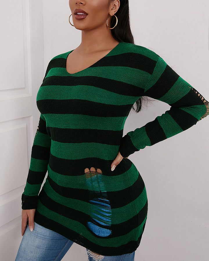 Colorblock Ripped Bodycon Sweater gallery 2