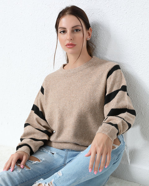 Contrast Striped Sleeve Rib-Knit Sweater