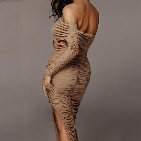 Chic One Sleeve Bandeau Mesh Ruched Split Side Bodycon Dress gallery 5