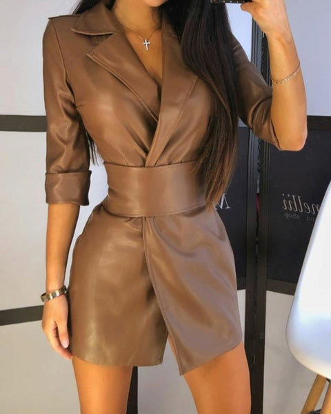 Lapel Neck Belted PU Leather Coat