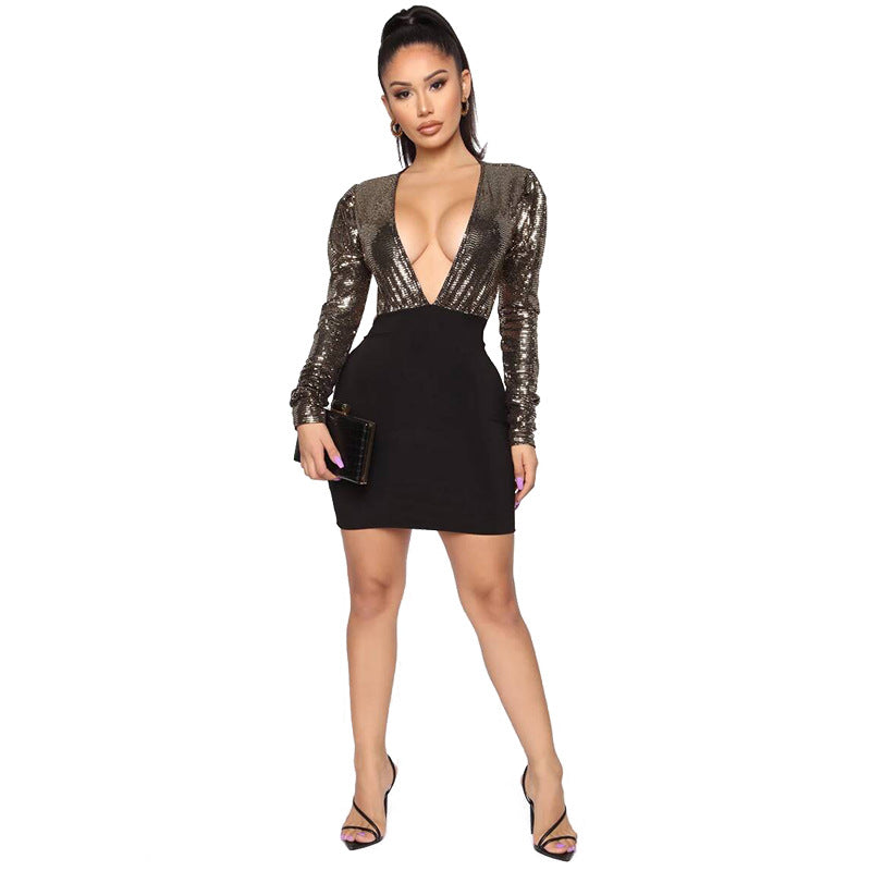 Sexy Sequin Plunge Open Back Skinny Mini Dress