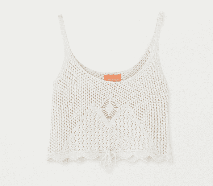 White Crochet Cami Top