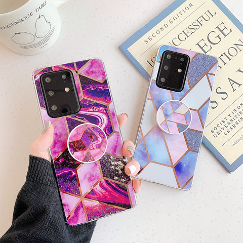 Marble Electroplated Detail Phone Case for Samsung with Phone Holder gallery 2