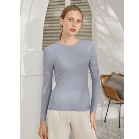 9 Solid Colors Rib-Knit Round Neck Fitted Top