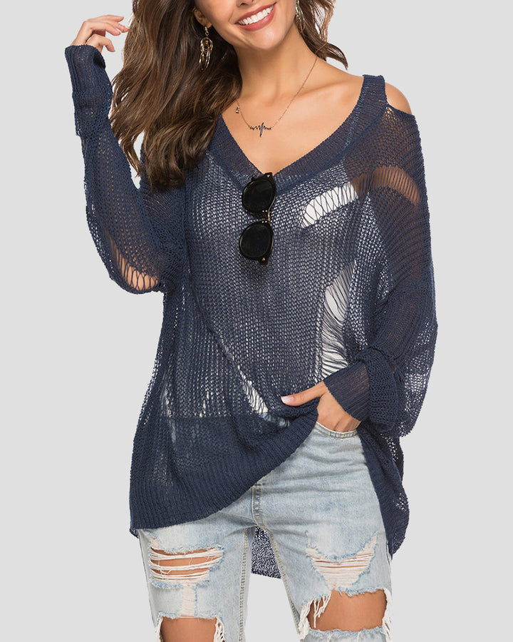 Chunky Knit Ripped Mesh Sheer Oversized Sweater gallery 1