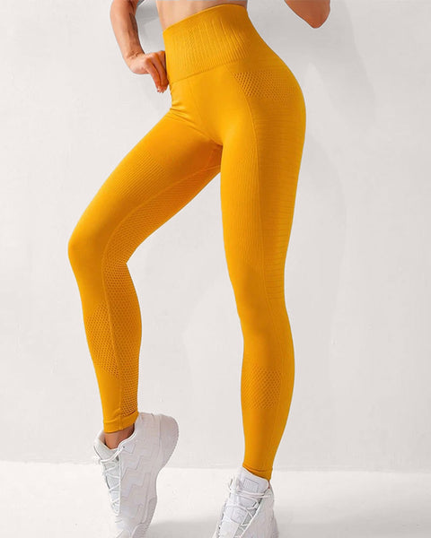 Solid Hip-Lifting High Rise Stretch Sports Leggings